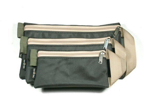 Сумка-кошелек - Комплект, Темно-зеленый с бежевой лентой
