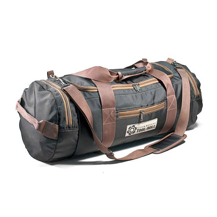 Дорожная сумка 52л Черная ПУ с коричневой отделкой.