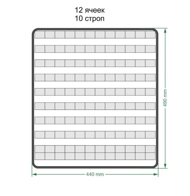 Модульная панель MOLLE 44х49см 12 ячеек 10 рядов