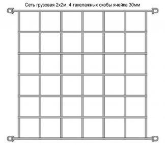 Сеть 2х2м 4 крепления ячейка 30см