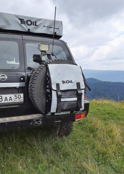 Сумка на запасное колесо серая с черным